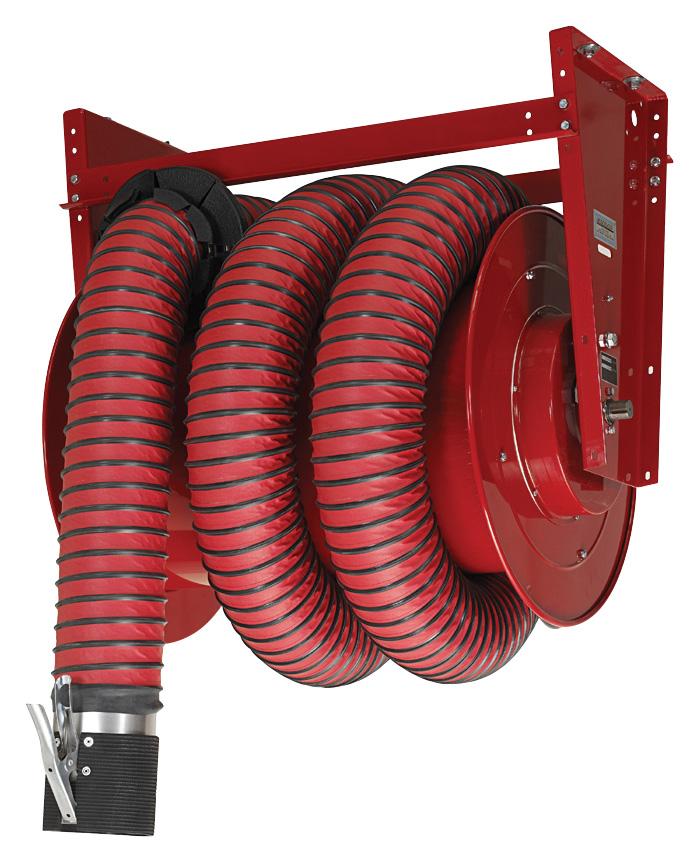 Indoor Exhaust Source Capture: Hose Reel: Indoor Engine Ventilation
